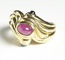 RUBY, SAPPHIRE AND FOURTEEN KARAT GOLD RING, set