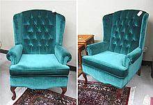 PAIR OF QUEEN ANNE STYLE WINGBACK ARMCHAIRS,