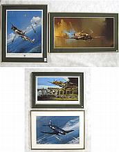 FOUR FIGHTER PLANE OFF-SET LITHOGRAPHS: John D.