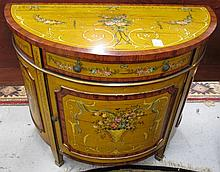 FEDERAL STYLE PAINT DECORATED CONSOLE CABINET,
