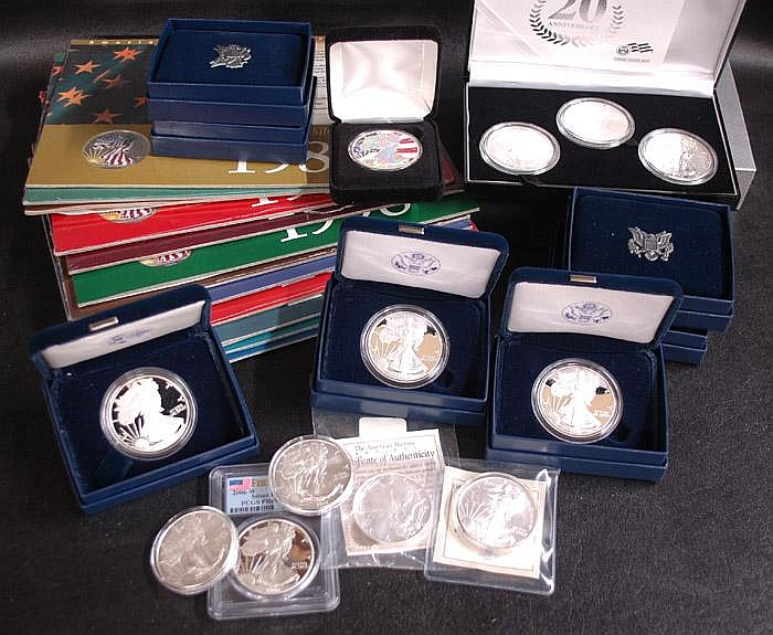 AMERICAN SILVER EAGLE DOLLAR COLLECTION, 28 total