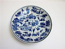 CHINESE CERAMIC ONE HUNDRED CHILDREN BOWL, blue