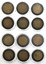 A COLLECTION OF TWELVE U.S. TWO-CENT PIECES: 1864