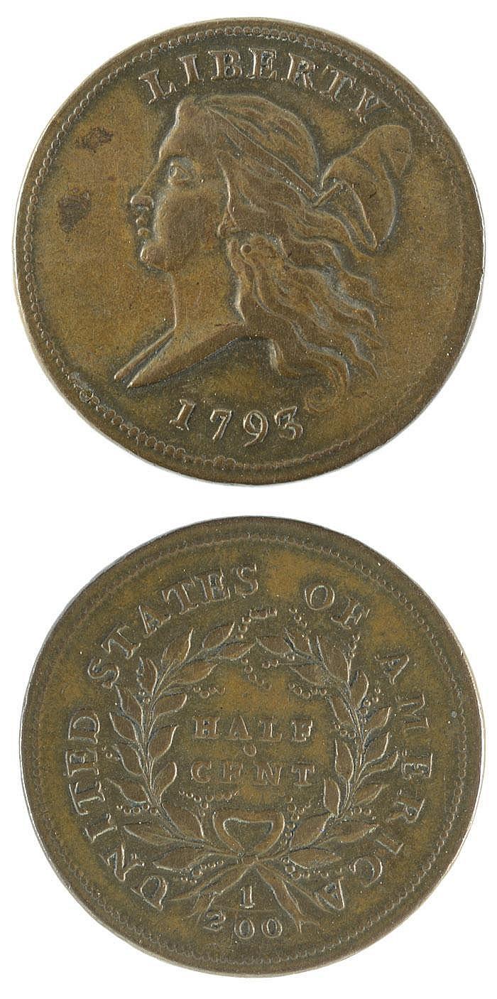 1793 U.S. LIBERTY CAP HALF CENT, flowing hair head