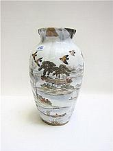 MEIJI JAPANESE CERAMIC VASE, having high shoulders