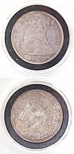 U.S. LIBERTY SEATED SILVER DOLLAR, 1872-P, type 2
