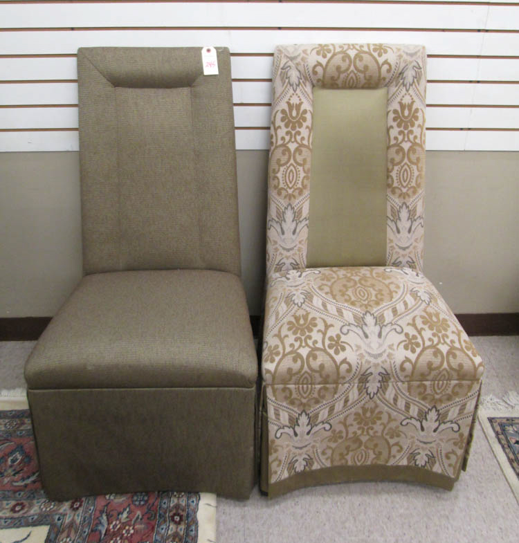 Upholstered High Back Dining Chair: A SET OF EIGHT FULLY UPHOLSTERED HIGH-BACK DINING CHAIRS