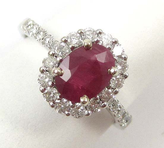 RUBY, DIAMOND AND FOURTEEN KARAT WHITE GOLD RING