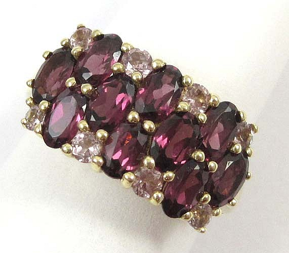RHODOLITE GARNET, TOURMALINE AND 14K GOLD RING
