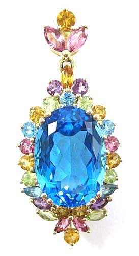 BLUE TOPAZ, COLOR GEMSTONES AND 14K GOLD PENDANT