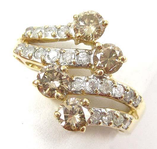 CHAMPAGNE DIAMOND, WHITE DIAMOND AND 14K GOLD RING