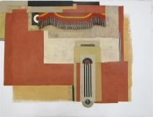 """ARMOND LARA MIXED MEDIA ON CANVAS (Washington/New Mexico/Colorado, born 1939) Collage with paper and applied tin bells. Image measures 36"""" x 48"""", signed lower center, stamped verso. Gallery wrapped canvas mounted to stretcher, unframed."""