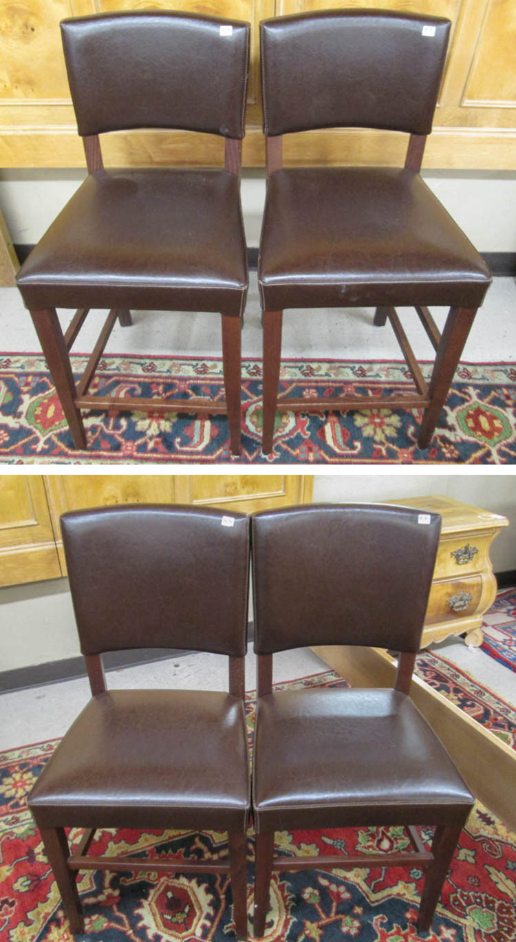 Magnificent A Set Of Four Leather Dining Chairs Made In Italy For Pier Andrewgaddart Wooden Chair Designs For Living Room Andrewgaddartcom