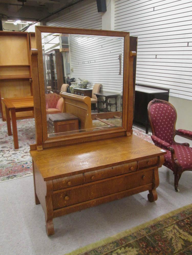 An Oak Low Dresser With Tilt Mirror Empire Reviva