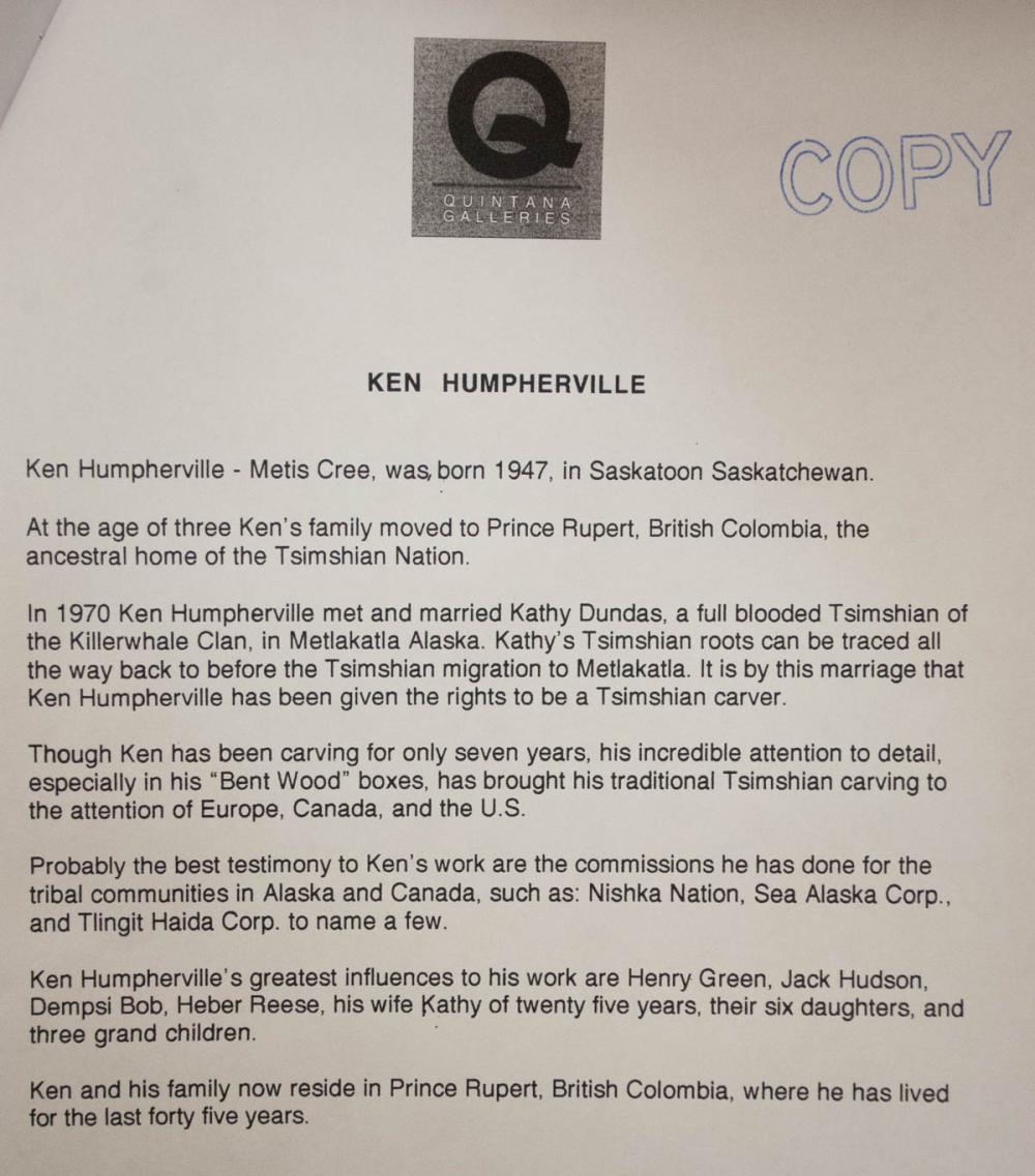 KEN HUMPHERVILLE (TSIMSHIAN/CREE NATIONS, 1947-201