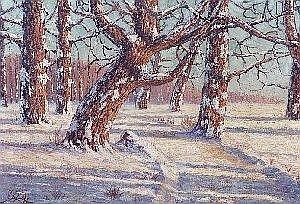HARRY LEONARD LOPP (Somers, Montana 1888-1966) Oil on panel A winter landscape with sunshine 20 in. by 38 in. Signed HL Lopp 1935 l.l. In gilt wo