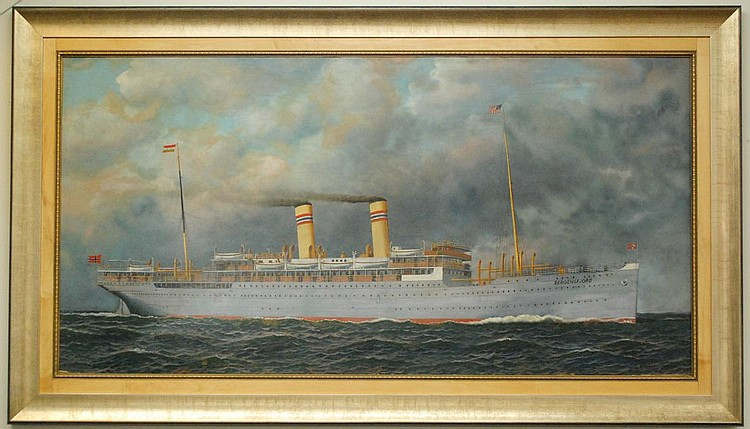 """ANTONIO NICOLO GASPARO JACOBSEN OIL ON BOARD (New York/New Jersey, 1850-1921) """"Bergensfjord"""" of the Norwegian American Line. Image measures 35.5"""" x 69.5"""", signed """"Antonio Jacobsen"""" lower right, with his Hoboken, NJ address lower right. In a gilt wood"""