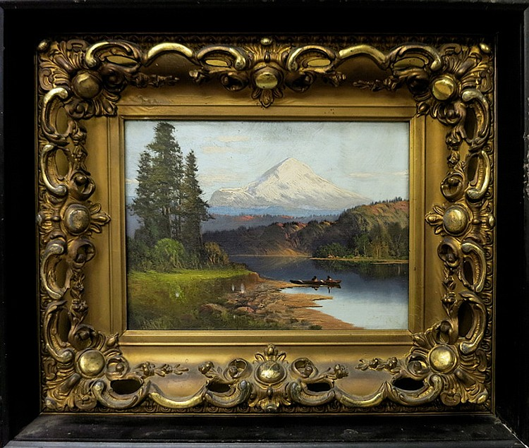 """JOHN J. ENGLEHART OIL ON CANVAS (California, 1867-1915) Mount Hood with figures in a canoe. Image measures 9"""" x 12"""", signed """"Hart"""" lower left. In a period gilt wood frame mounted in a shadowbox."""