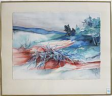 """JOAN METCALF WATERCOLOR ON PAPER (Oregon, born 1934) Landscape with river and hills. Image measures 23"""" x 30"""", signed """"Joan Metcalf"""" lower left. In a metal frame."""