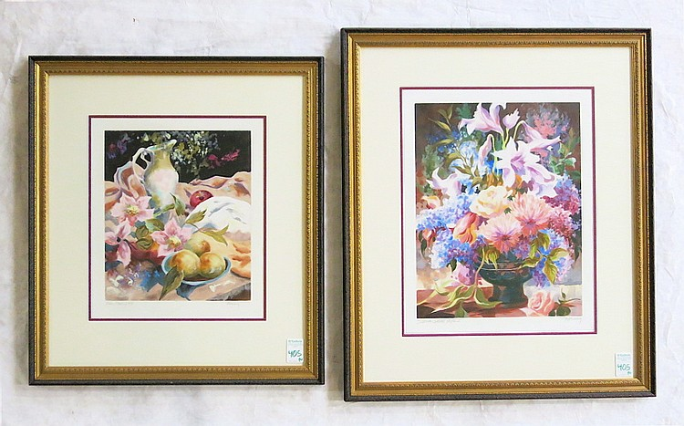 ELIZABETH HORNING, TWO OIL ON PAPER (American, born 1943) Floral still-lifes: