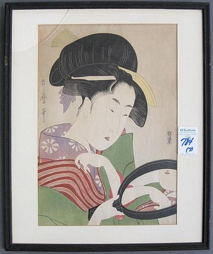 """SIX JAPANESE COLOR WOODCUTS, oban size (9.50"""" by"""