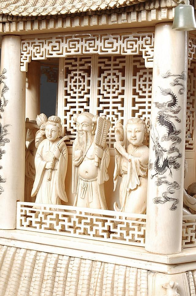 A MONUMENTAL CHINESE CARVED IVORY PAGODA TOWER,