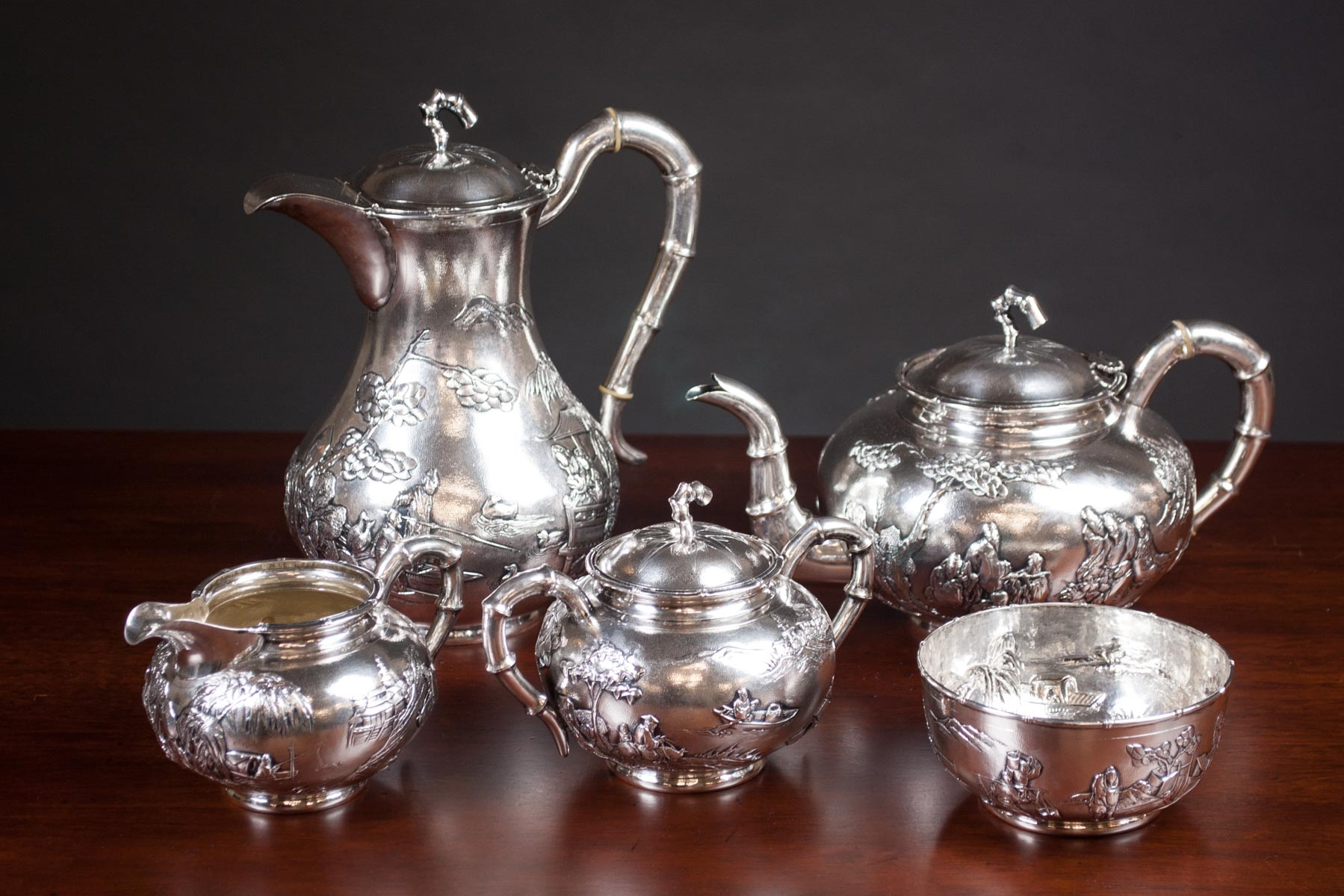 TUCK CHANG CHINESE EXPORT SILVER COFFEE & TEA SERV