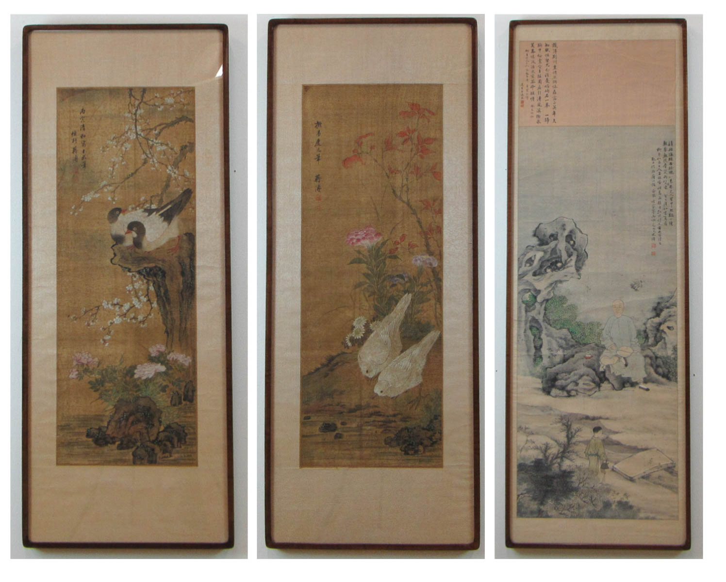 THREE CHINESE SCROLL PAINTINGS IN MATCHING FRAMES: