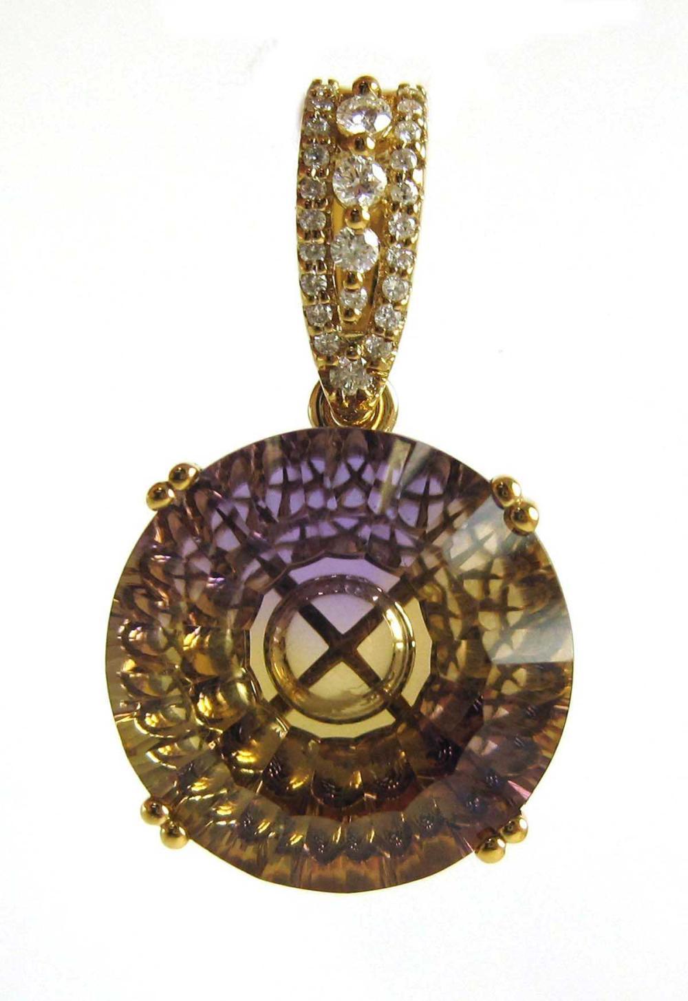AMETRINE, DIAMOND AND FOURTEEN KARAT GOLD PENDANT.