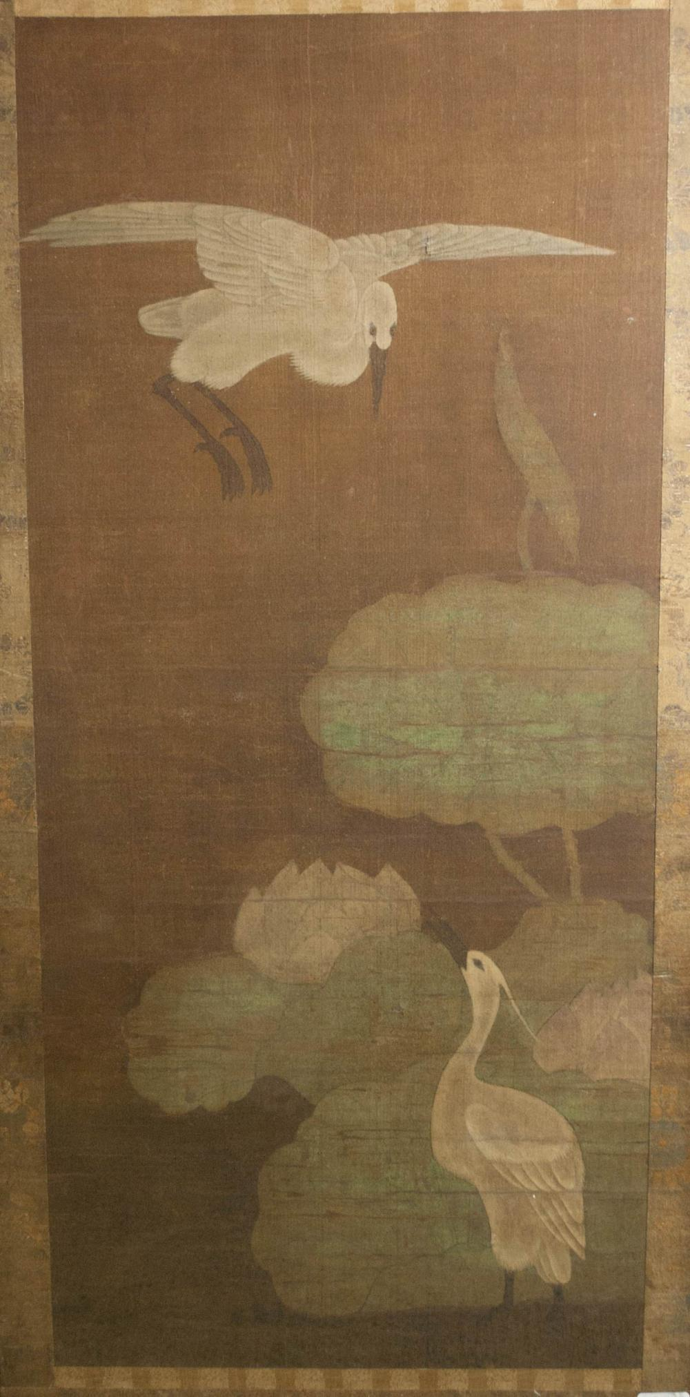 THREE INDIVIDUALLY FRAMED CHINESE SCROLL PAINTINGS