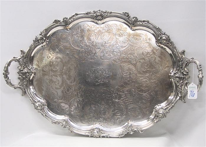 SHEFFIELD SILVERPLATE ON COPPER SERVING TRAY, by