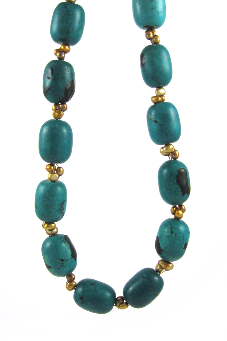 TURQUOISE, PEARL AND VERMEIL NECKLACE, measuring 1