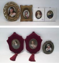 SEVEN CONTINENTAL MINIATURE PORTRAIT PAINTINGS, de