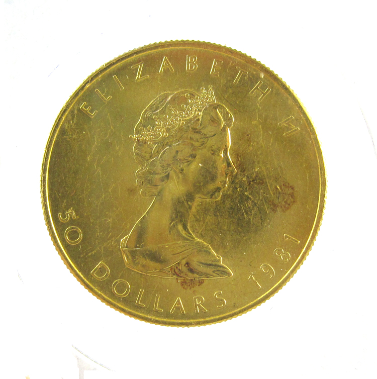 ONE CANADIAN GOLD MAPLE LEAF COIN, $50 dollar deno