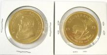 TWO SOUTH AFRICAN KRUGERRAND GOLD COINS, each 1 oz