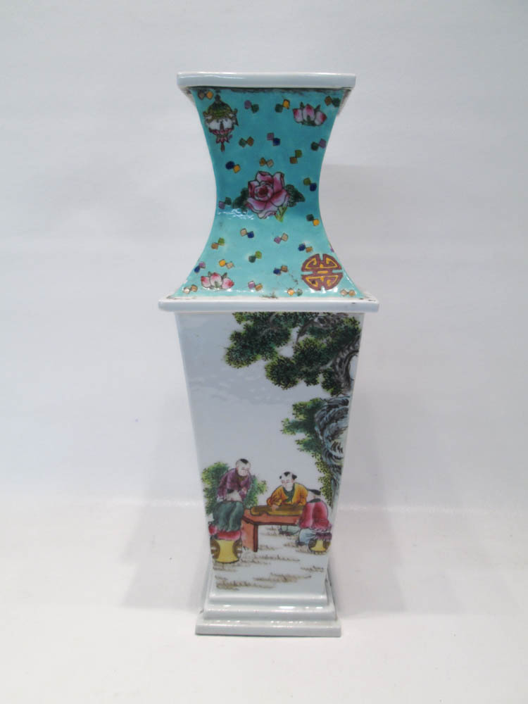 CHINESE PORCELAIN VASE, square form with tapered b