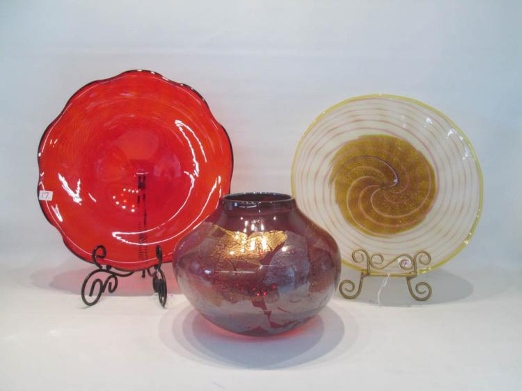 THREE STUDIO ART GLASS PIECES including a bulbous