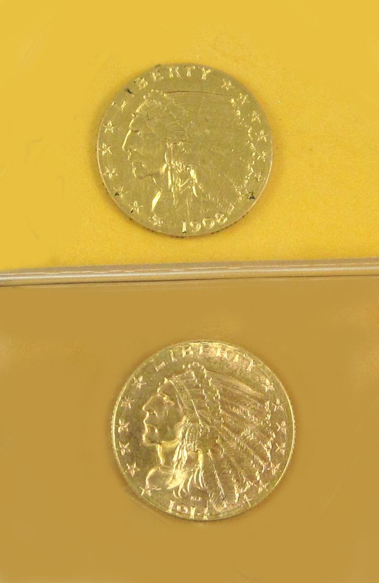 TWO U.S. GOLD COINS, both $2-1/2 Indian head type,