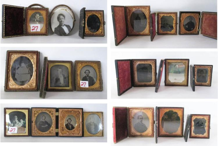 EIGHTEEN ANTIQUE PHOTOS stored in 16 cases, variou