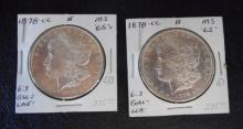 TWO CARSON CITY SILVER MORGAN DOLLARS, 1878-CC (2)