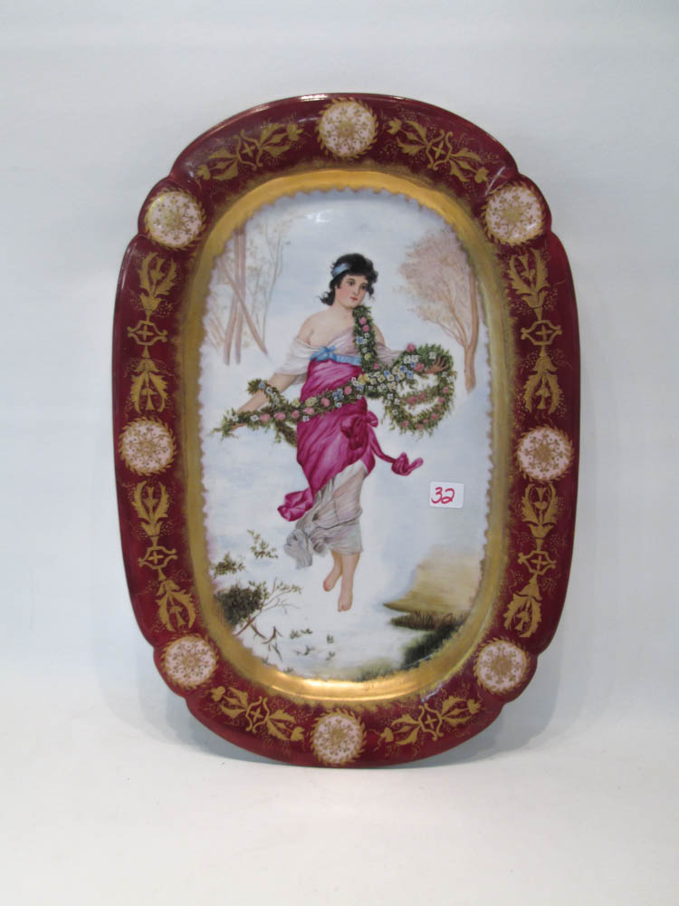 VICTORIAN HAND PAINTED PORCELAIN PLATTER depicting