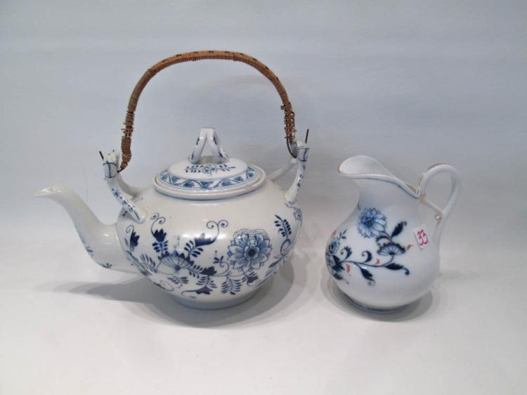 MEISSEN STYLE PORCELAIN TEA POT AND CREAMER in a B