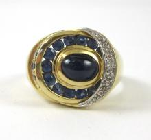 MAN'S SAPPHIRE AND FOURTEEN KARAT GOLD RING, with