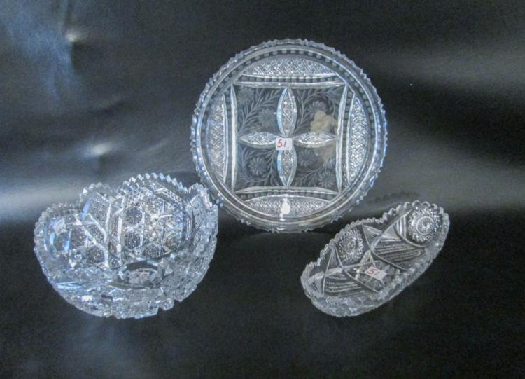 THREE CUT CRYSTAL TABLEWARE PIECES including a lar