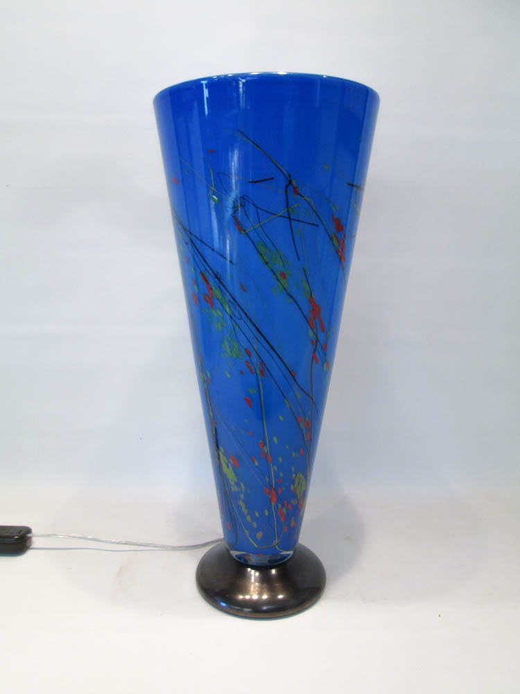 GLASS LIGHT BLUE CONICAL TABLE LAMP having a blue
