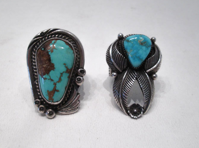 TWO NAVAJO SILVER AND TURQUOISE RINGS: teardrop s