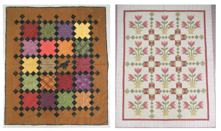 TWO COTTON QUILTS, machine made:  one having baske