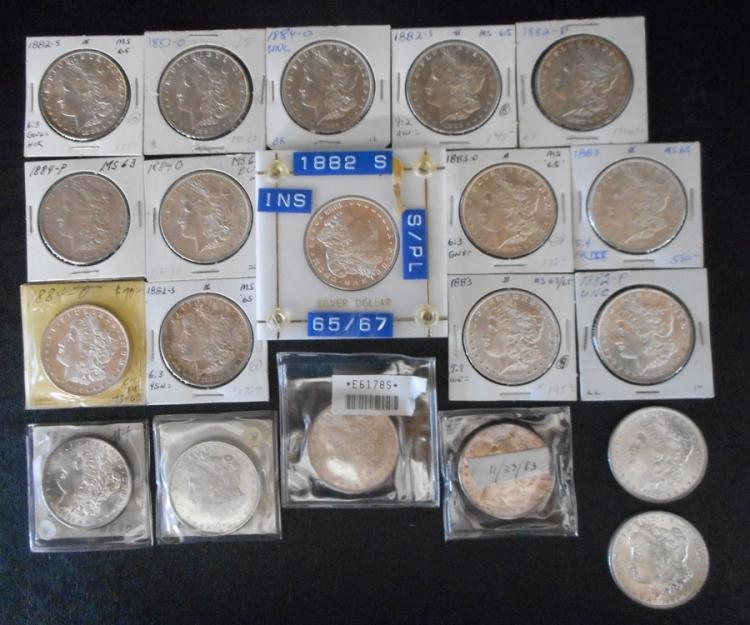 TWENTY U.S. SILVER MORGAN DOLLARS:  1882-P (2), 18
