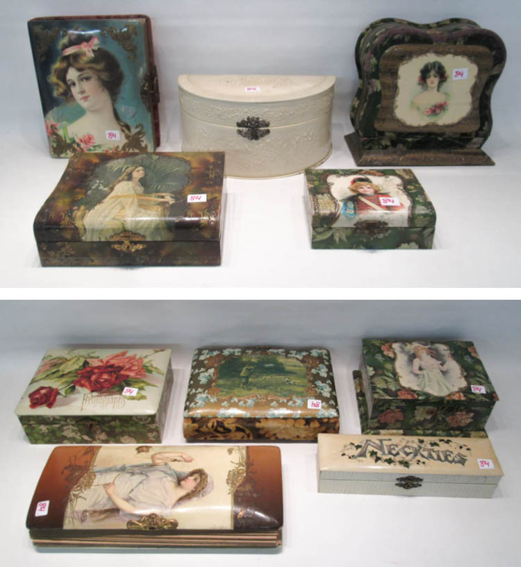 TEN VICTORIAN CELLULOID ALBUMS AND BOXES, the thre