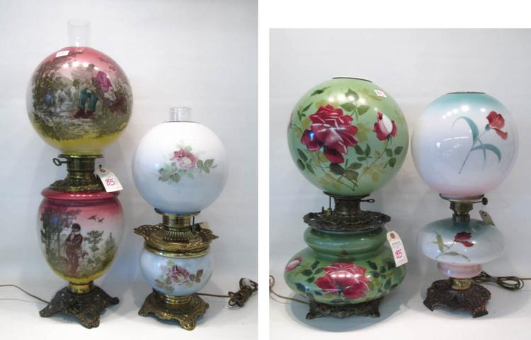 FOUR HAND PAINTED GONE WITH THE WIND STYLE LAMPS h